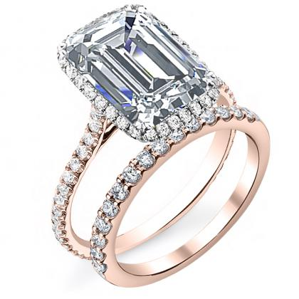Rose Gold Emerald cut Engagement Rings