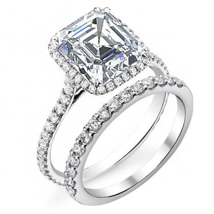 Cathedral Asscher cut Engagement Rings