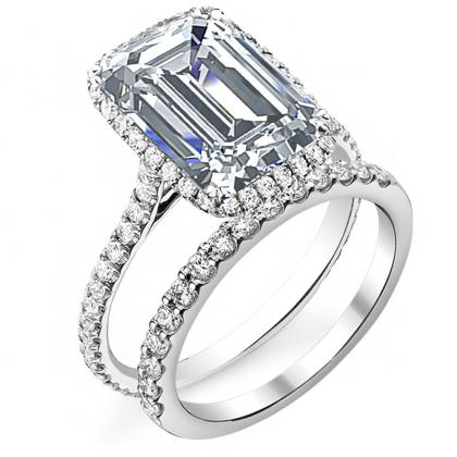 Emerald cut Bridal Wedduing Ring Sets