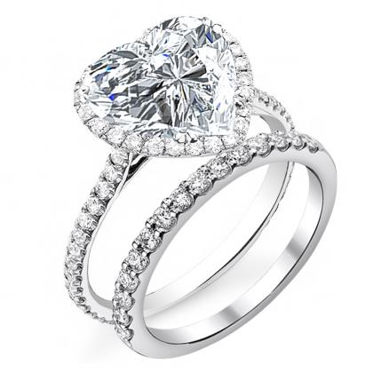 Heart Shape Bridal Wedduing Ring Sets