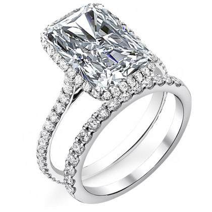 White Gold Radiant cut Engagement Rings