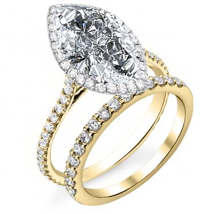 Yellow Gold Marquise cut Engagement Rings
