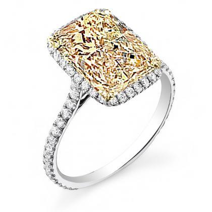 Radiant Cut Halo Yellow Diamond Engagement Rings