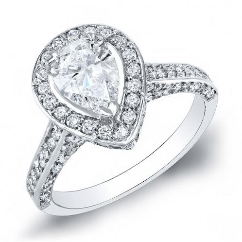 Natural Halo Pave Side Profile Diamond Engagement Ring