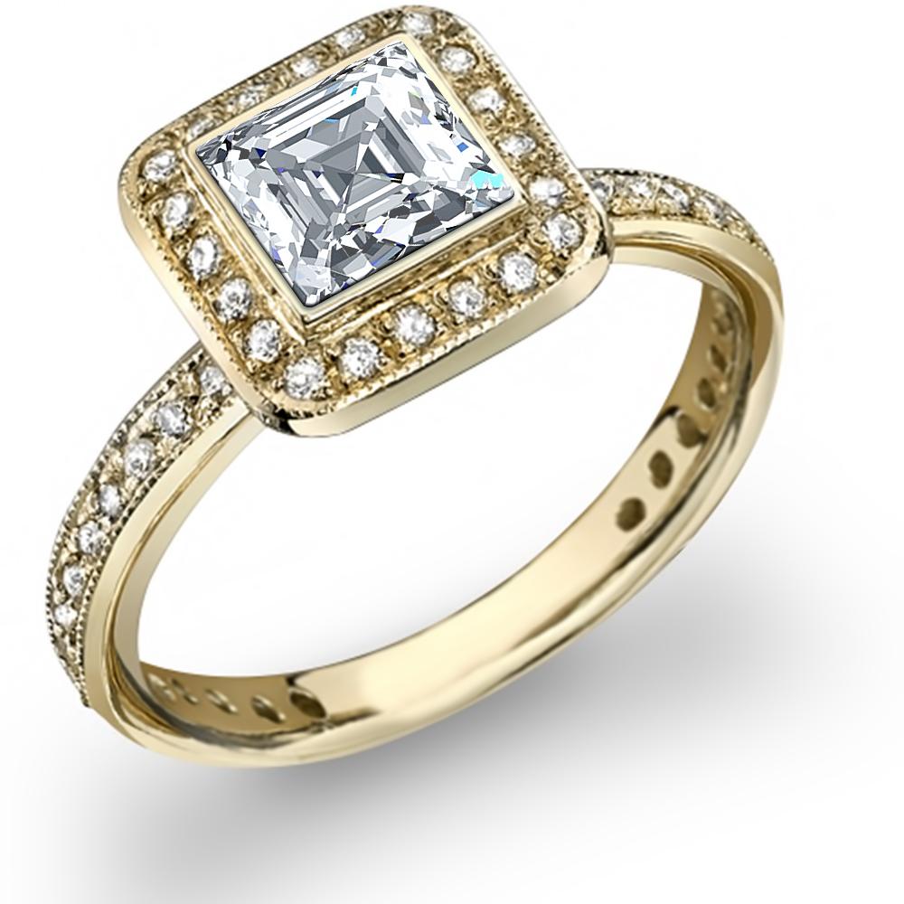 Natural Halo Pave Bezel Setting Engagement Ring