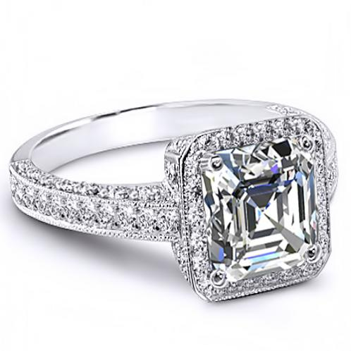 Natural Halo Pave Art Deco Diamond Engagement Ring