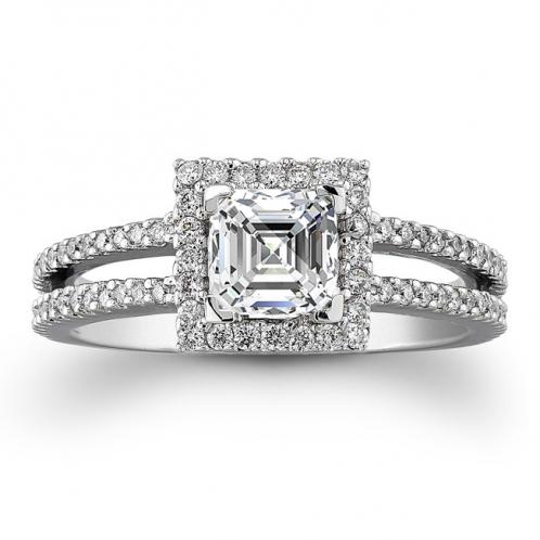 Halo Split Shank Pave Diamond Engagement Ring