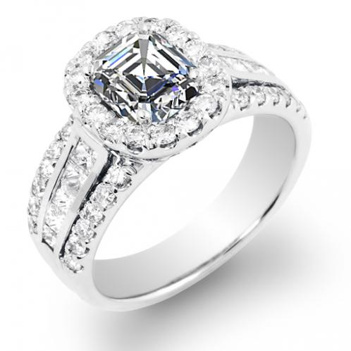Halo Pave with Diamond Princess Channel Engagement Ring