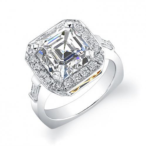 Natural Cushion Diamond Baguettes Engagement Ring