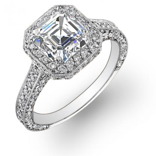 Natural Cushion Diamond Three Sided Pavé Halo Engagement Ring