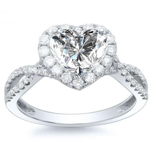 Heart Halo Pave Engagement Ring