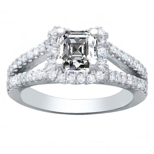 Contemporary Halo Pave Split Shank Natural Diamond Engagement Ring