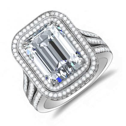 3.10ct. natural diamond emerald cut double halo split shank micro pave engagement  ring setting 14k white gold gia