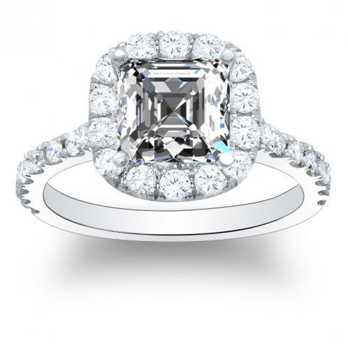 Natural Halo Pave Diamonds Engagement Ring
