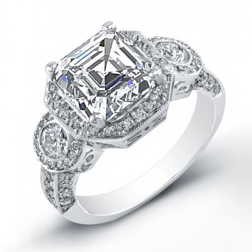 3 Stone Art Deco Halo Pave Diamonds Engagement Ring