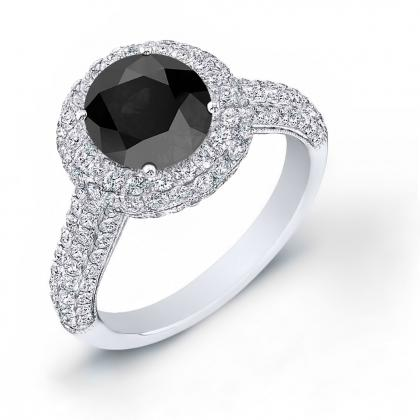 Double Halo Black Diamond Engagement Rings