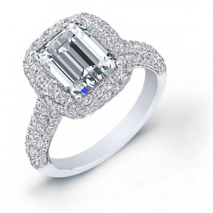 Double Halo Emerald cut Engagement Rings