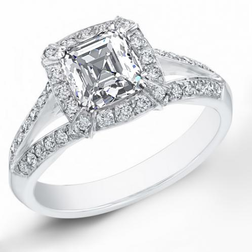 Natural Halo Pave Split Shank Diamond Engagement Ring