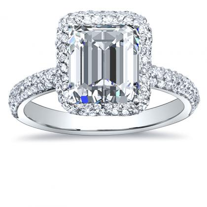 240ct Natural Diamond Emerald Cut Halo Micro Pave Diamonds Engagement Ring Setting 14k White Gold Gia