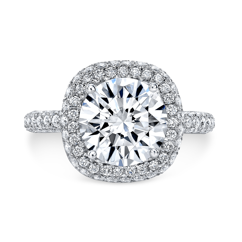 Halo Micro Pave Diamond Engagement Ring