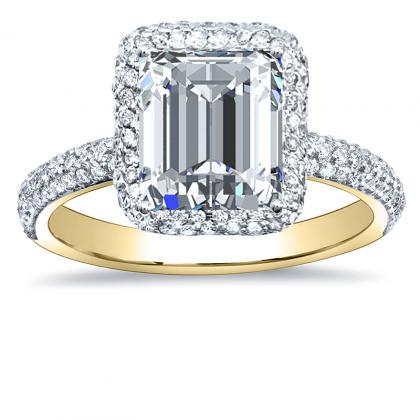 2.40ct. natural diamond emerald cut halo micro-pave natural diamonds engagement  ring setting 14k yellow gold gia