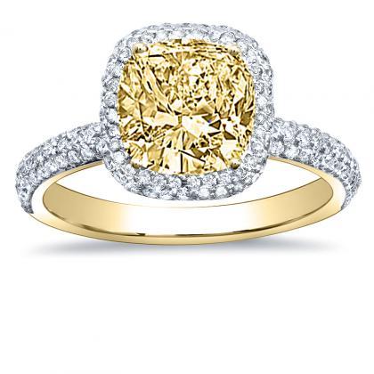2.40ct. yellow diamond cushion cut halo micro-pave natural diamonds engagement  ring setting 14k yellow gold gia