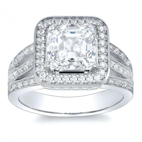 Split Halo Pave Natural Diamonds Engagement Ring Mounting