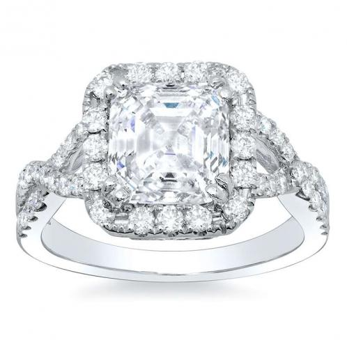 Natural Diamonds Halo Pave Engagement Ring Mounting