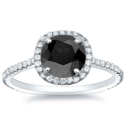 1.28ct. black diamond round cut natural micro pave halo diamonds engagement  ring set 14k white gold gia