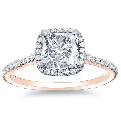 1.28ct. natural diamond princess cut natural micro pave halo diamonds engagement  ring set 14k rose gold gia