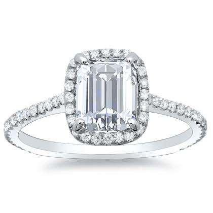 1.28ct. natural diamond emerald cut natural micro pave halo diamonds engagement  ring set 14k white gold gia