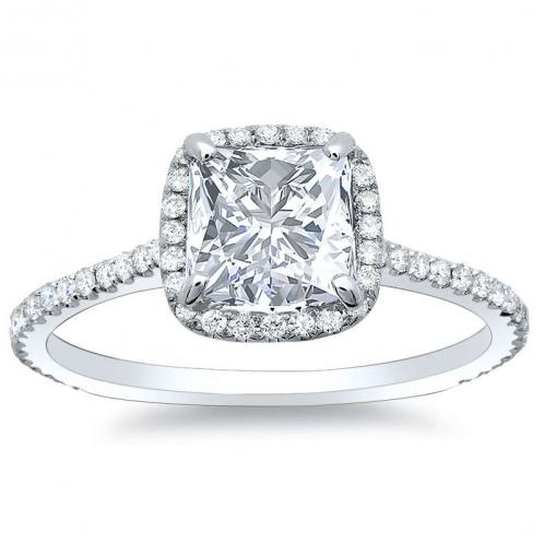 Natural Micro Pave Halo Diamonds Engagement Ring Set