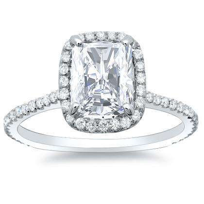 radiant cut halo engagement rings