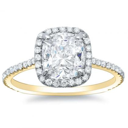 1.28ct. natural diamond cushion cut natural micro pave halo diamonds engagement  ring set 14k yellow gold gia
