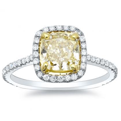 1.28ct. yellow diamond cushion cut natural micro pave halo diamonds  engagement ring set 14k white gold gia