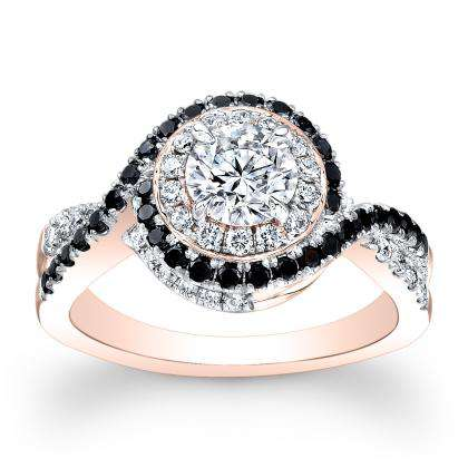 Black Accents Rose Gold Engagement Rings