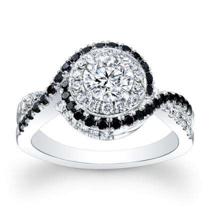 Black Accents Engagement Rings