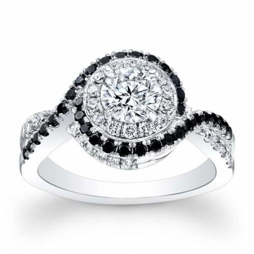 Halo Swirl Pave Natural Diamond Engagement Ring