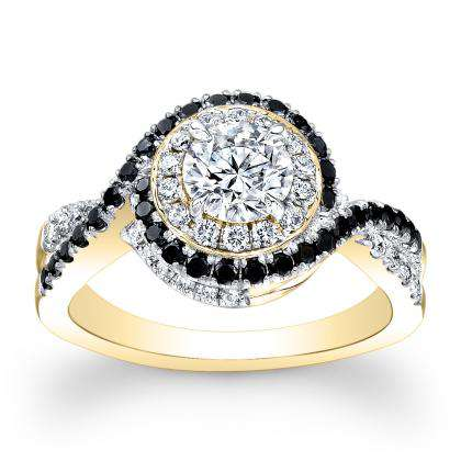 Black Accents Yellow Gold Engagement Rings