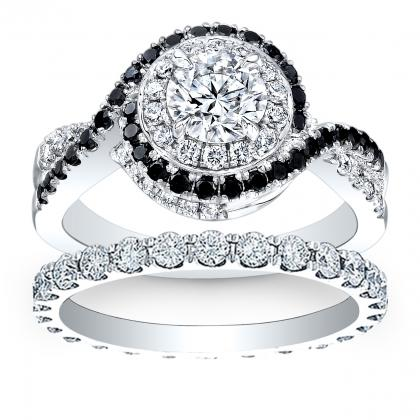 diamond round cut halo swirl pave natural diamond engagement ring