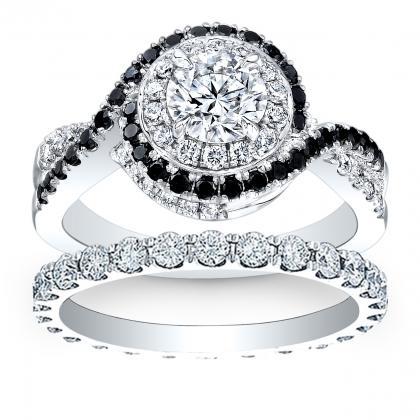 Black Accents Bridal Wedding Ring Sets