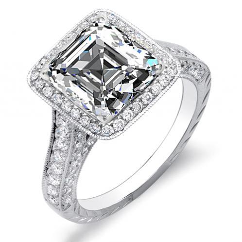 Natural Princess Halo Pave Diamonds Engagement Ring