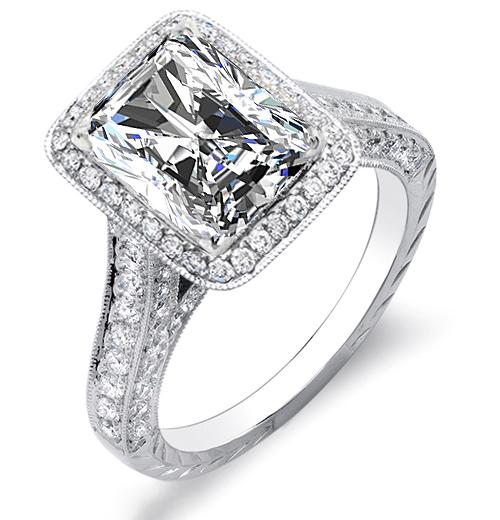 Natural Halo Vintage Pave Milgrains Hand Engraving Diamonds Engagement Ring