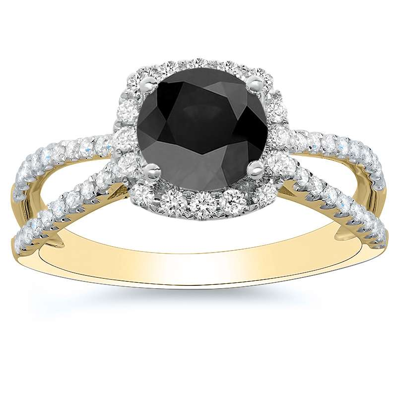 Natural Split Pave Diamonds Engagement Ring
