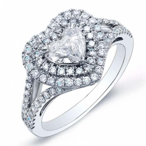 Natural Double Halo Pave Diamond Split Shank Engagement Ring