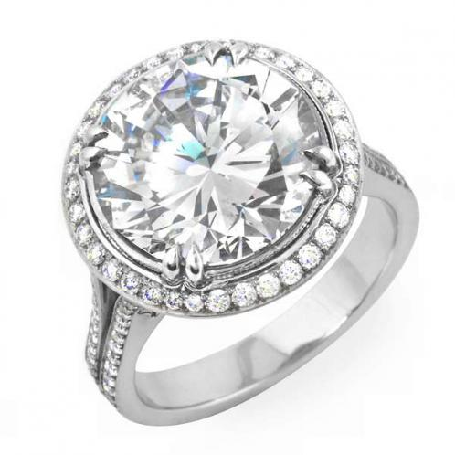 Natural Halo Cathedral Split Shank Diamond Engagement Ring