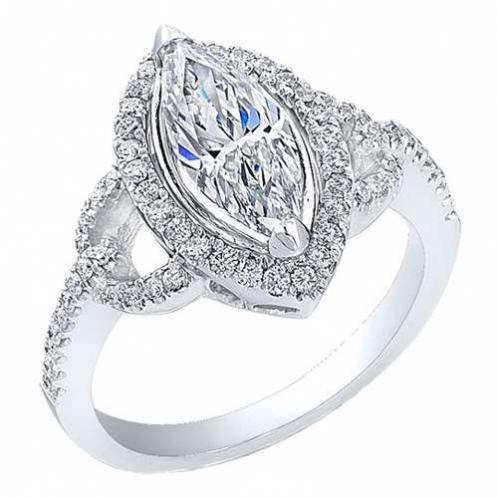 Natural Halo Semi Halo Shank Diamond Engagement Ring