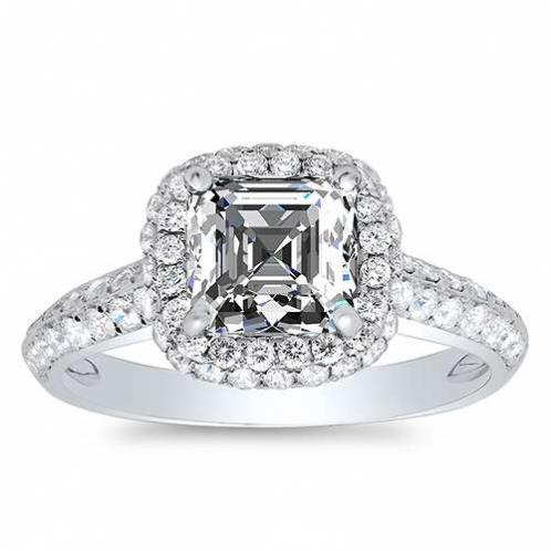 Natural Halo 2 Row Pave Diamond Engagement Ring