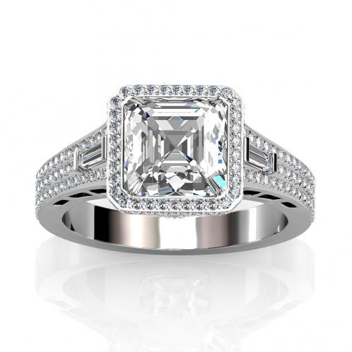 Natural Halo 3 Row Pave Baguette Sidestone Engagement Ring