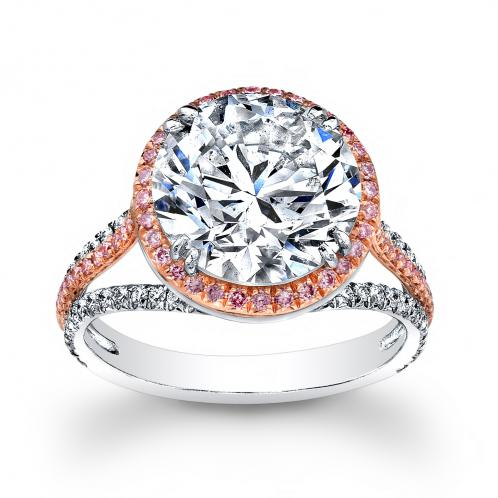 Natural Halo Pave Contemporary Split Shank Diamond Engagement Ring